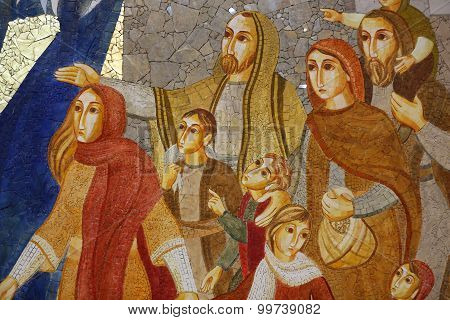 KRAKOW, POLAND - MAY 31, 2015: Cracow Lagiewniki - The centre of Pope John Paul II. Mosaics on the church wall with biblical scenes
