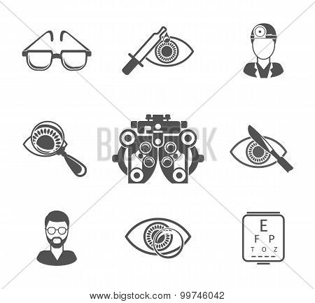 Oculist and optometry black icons set