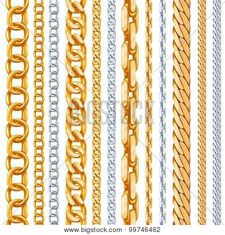 Gold and silver chains vector set