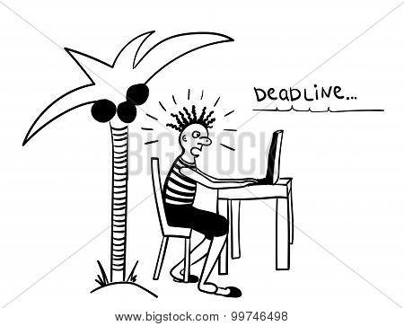 deadline from freelancers comic vector illustration