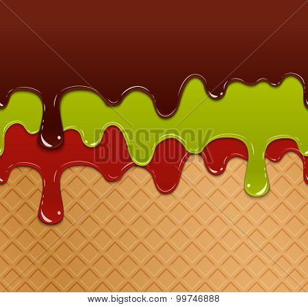 Flowing berry jam, green jelly and chocolate on waffle ice cream texture seamless pattern