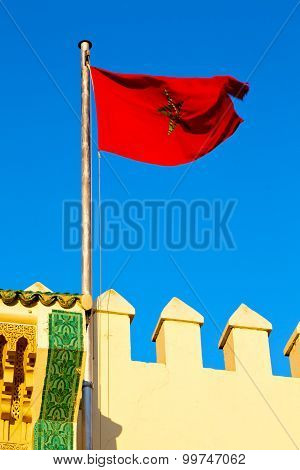 Tunisia  Waving Flag In The Blue Sky    Battlements  Wave