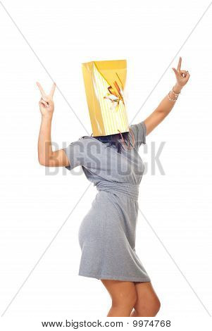 Woman With Shopping Bag On Head
