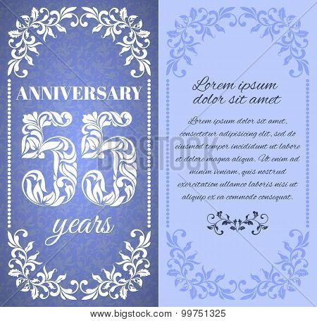 Luxury Template With Floral Frame And A Decorative Pattern For The 55 Years Anniversary. There Is A