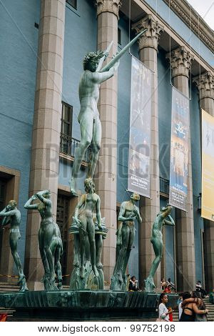 Orpheus fountain is located in front of Concert Hall in Stockhol