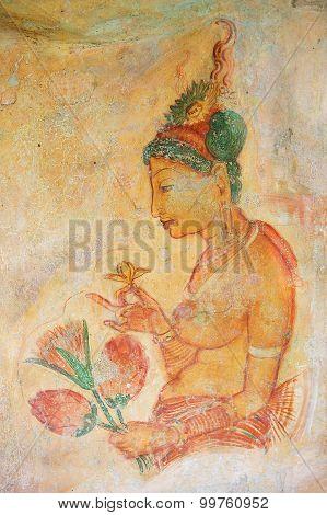 Exterior of the ancient paintings at Sigiriya rock in Sigiriya, Sri Lanka.
