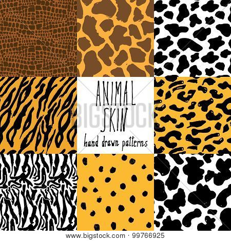 Animal Skin Hand Drawn Texture, Vector Seamless Pattern Set, Sketch Drawing Cheetah, Cow, Clocodile,