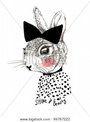 cute watercolor rabbit illustration