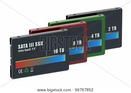 Set Of Colored Tb Solid State Drives (ssd)