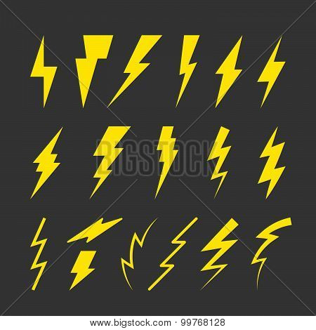 Set of Yellow Thunderbolt Symbols