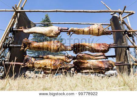 Baking Lamb Outdoors In Bulgaria
