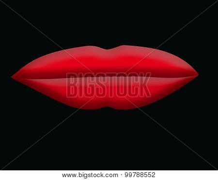 Large Red Lips on Black