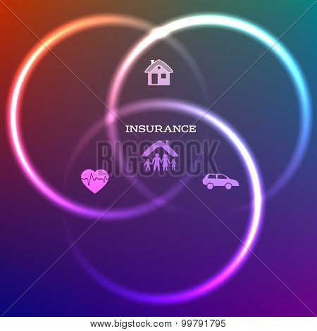 Concept Family Insurance Dark Background Glow Circles