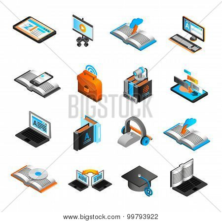 E-learning isometric icons set with laptop CD and webcam isolated vector illustration poster