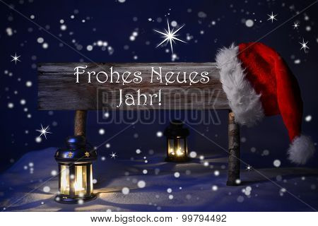 Christmas Sign Candlelight Santa Hat Frohes Neues Means New Year