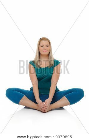 Beautiful Happy Woman Doing Pilates Pose. Isolated On White Background