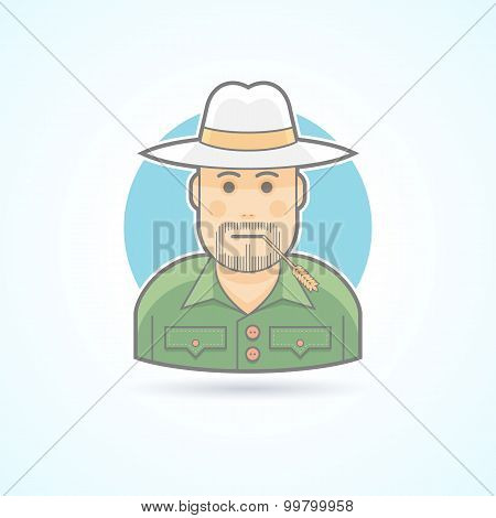 Farmer, gardener, rancher icon. Avatar and person illustration. Flat colored outlined style.