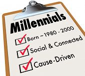 Millennials checklist on clipboard for survey of generation with age born between 1980 and 2000, social and connected, and cause driven poster