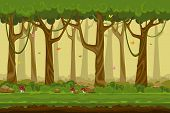Cartoon forest landscape, endless vector nature background for computer games. Nature tree, outdoor plant green, natural environment wood illustration poster