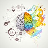 Left and right brain concept with colors music and science flat vector illustration poster