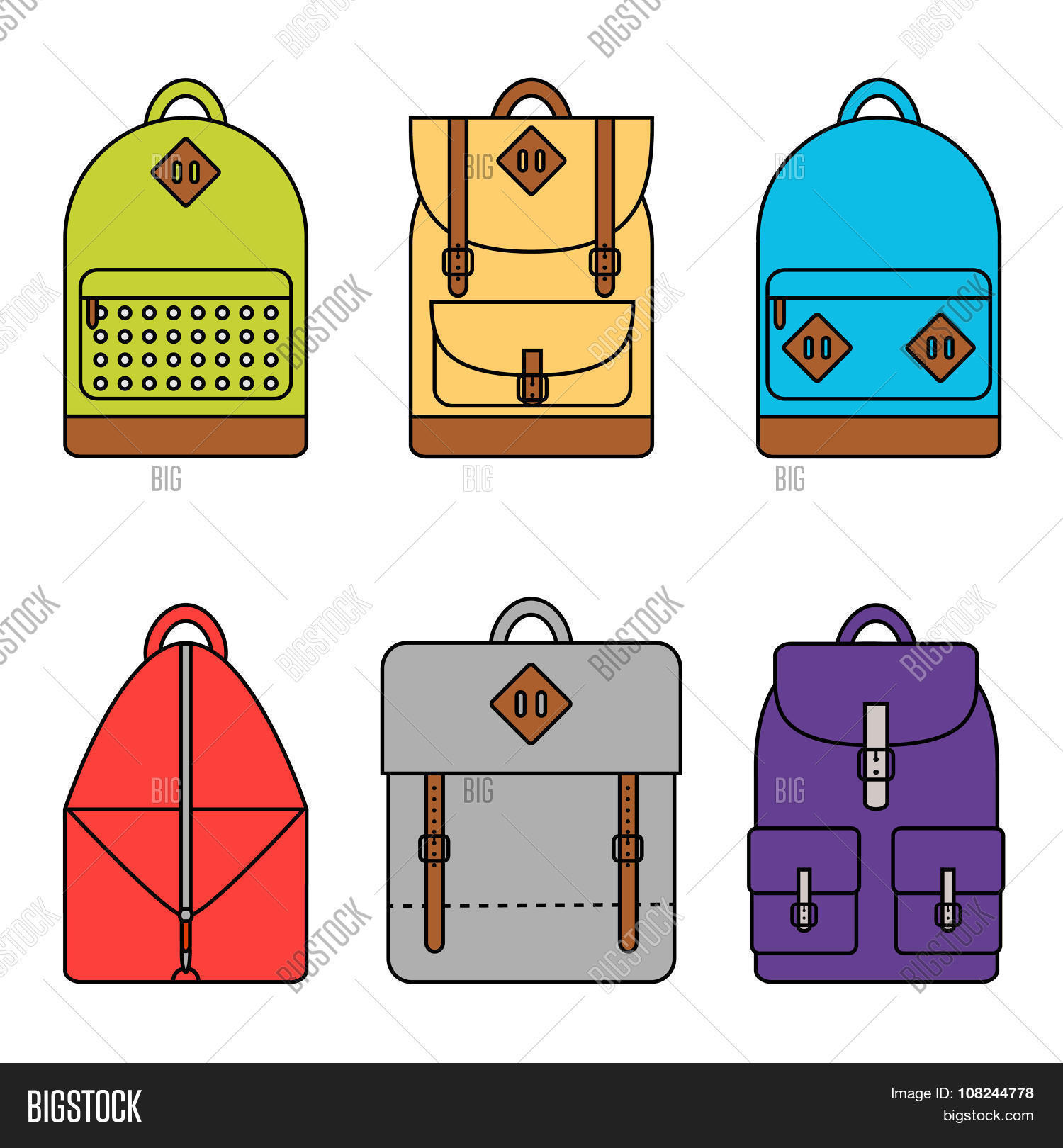 3324c9de802d Isolated backpack icons set on background. Collection of six different  backpacks. School backpack. Sport backpack. Travel backpack. Flat line  style vector ...