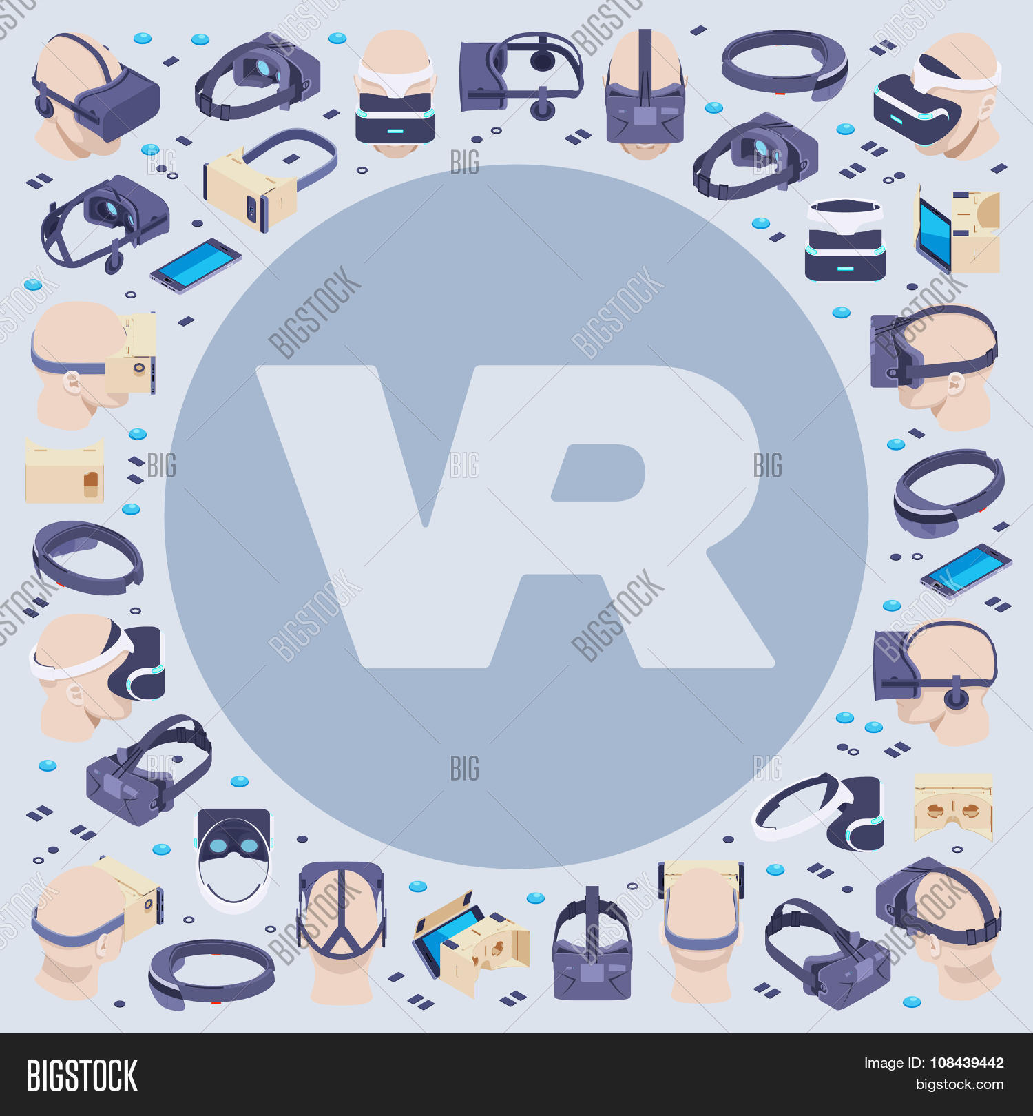 8b30d76a8066 Vector decorating design made of isometric virtual reality headsets