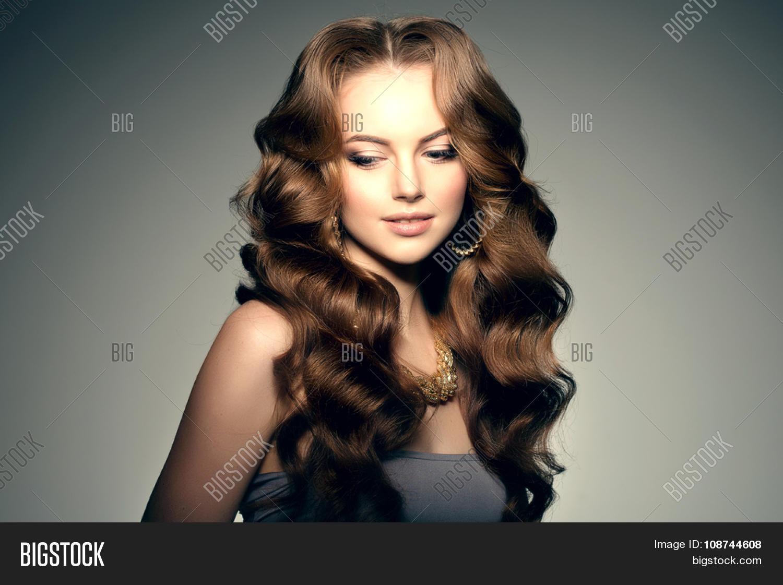 model long hair waves curls image photo bigstock. Black Bedroom Furniture Sets. Home Design Ideas