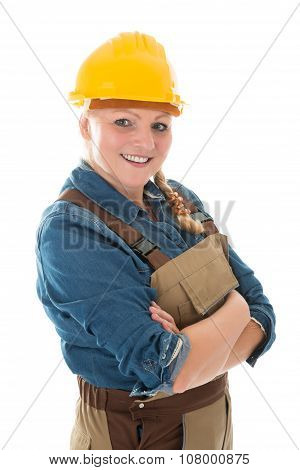 Happy Female Carpenter Standing Arms Crossed