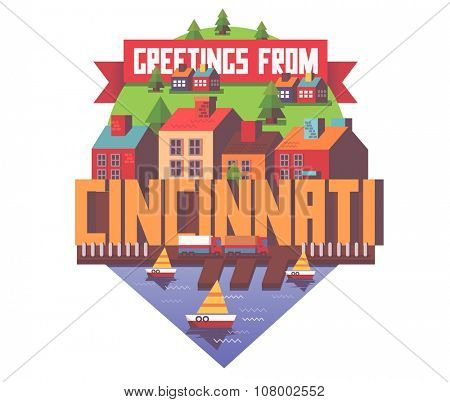 Cincinnati beautiful city to visit. vector cartoon