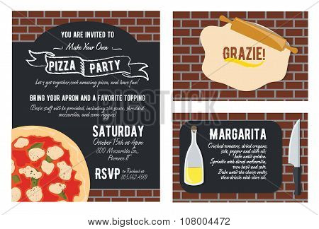 Vector Fun Make Your Own Pizza Party Invitation Set. Recipe Card. Knife. Oil. Grazie Thank You
