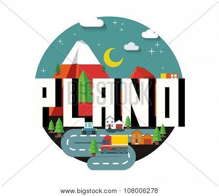 Plano Texas beautiful city to visit. vector cartoon