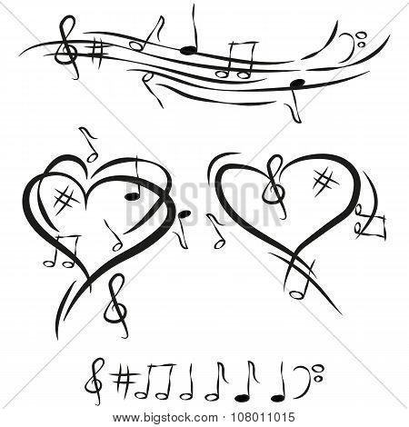 Illustration Vector Graphic I Love Music