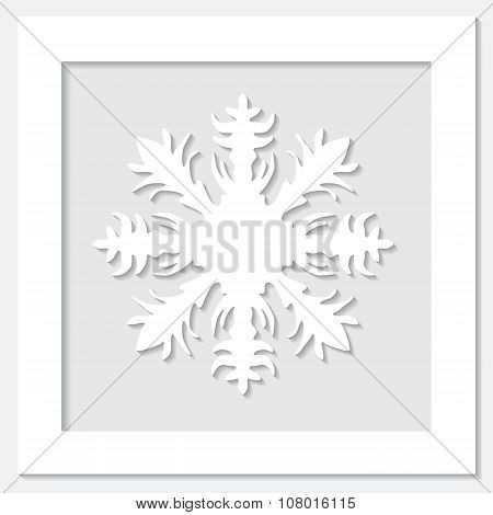 Stock Vector White Frame With Snowflake  On The Grey Background.