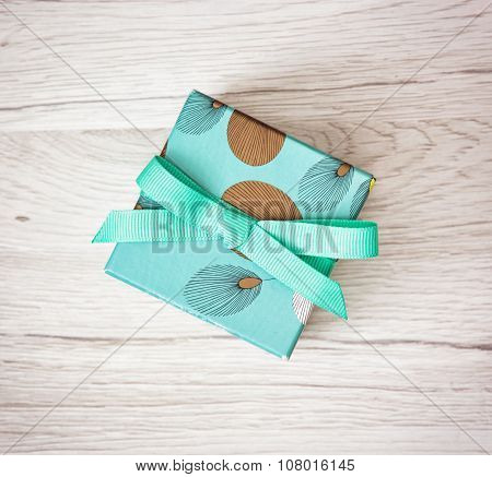 Painted Gift Box With Ribbon, Holiday Symbol