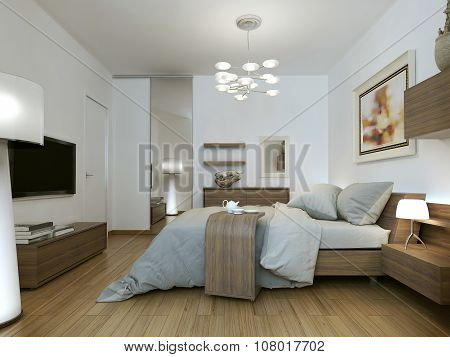 Bedroom In Style Of High-tech