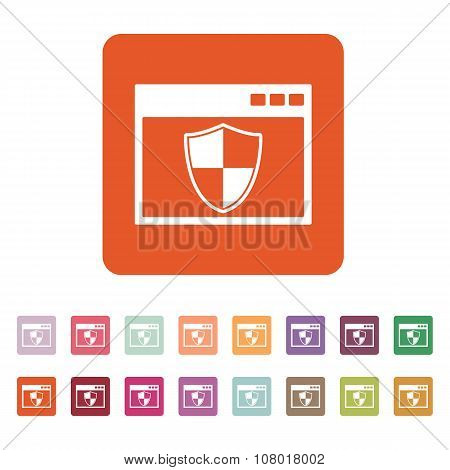 The antivirus icon. Firewall and safety, protection, website symbol. Flat Vector illustration. Button Set poster