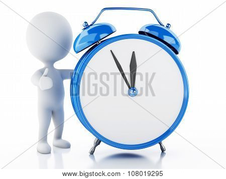 3D White People With Alarm Clock