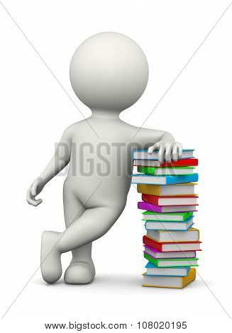 White 3D Character Leaned On A Heap Of Books