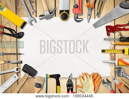 Diy handyman tool workbench remodeling home sign poster