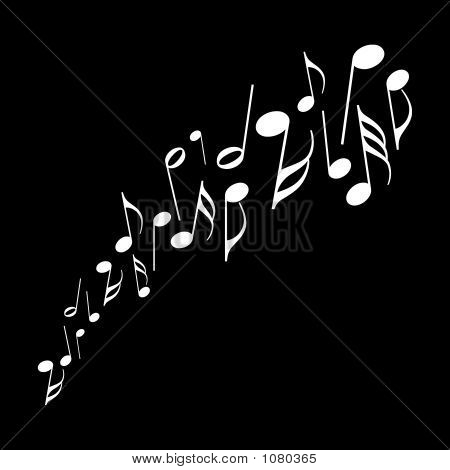 a series of musical notes dancing across a black background. poster