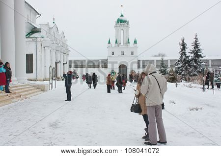 Tourists At Monastery