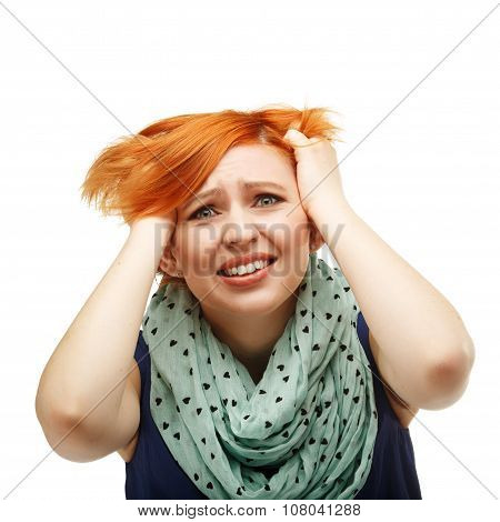 Portrait Of The Girl Tearing Their Hair In Stress