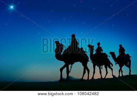 Three Wise Men Camel Travel Desert Bethlehem Concept