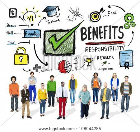 Benefits Gain Profit Earning Income People Diversity Concept poster