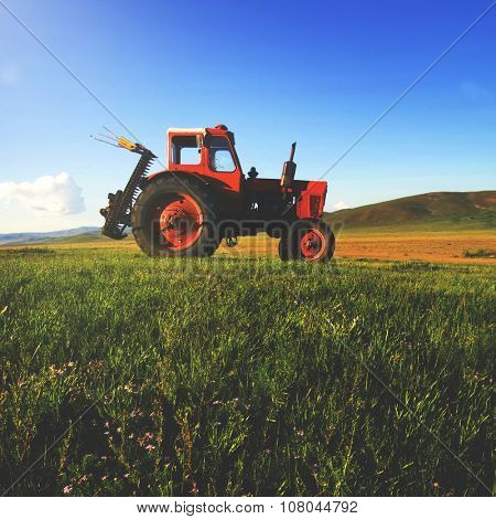 Tractor Agriculture Tranquil Remote Suburb Field Concept poster
