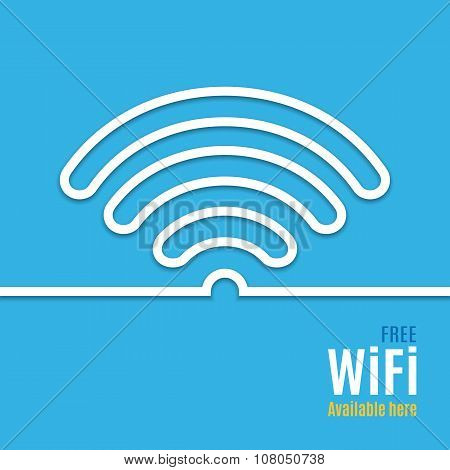 WiFi icon on blue background. illustration