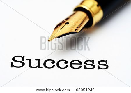 Fountain Pen On Success Text