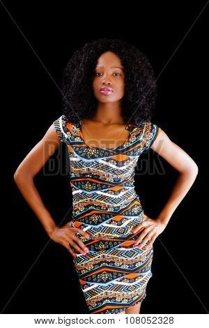 Attractive African American Woman Arms Akimbo Dress