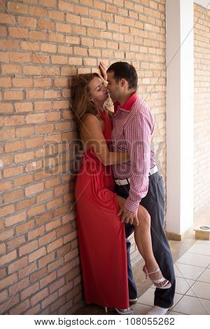 enamored man and woman posing in different places