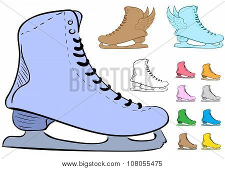 Clipart with the various skates